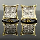 NEW!! $69 Mens 14k GOLD Finish iced out CUSTOM Simulated Diamond HipHop EARRINGS