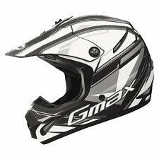 GMAX GM46.2 MX ATV HELMET FLAT BLACK SILVER VENTED ROOST DEFLECTOR YOUTH & ADULT
