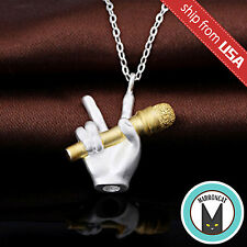 925 Sterling Silver Microphone Singer Victory Hand Necklace Pendant Novelty gift