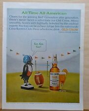 1965 magazine ad for Old Crow Bourbon Whiskey - All American, football theme ad
