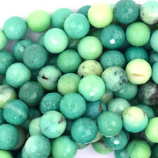 "8mm faceted green chrysoprase round beads 15.5"" strand"
