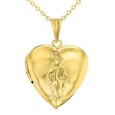 Heart Shaped Photo Locket Virgin Mary Catholic Religious Pendant Necklace 19""