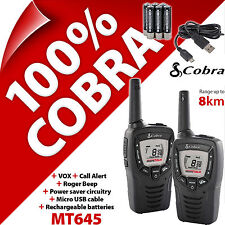 COBRA MT645 2 vie Walkie Talkie Radio 8km RICARICABILE LCD PMR 446 Twin Pack