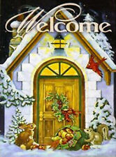 """Welcome House Winter House Flag Large Holiday Yard Banner 28"""" x 40"""""""