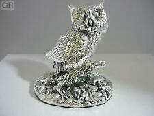 Superbe hallmarked sterling silver owl statue neuf