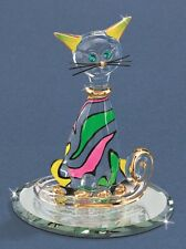 Glass Baron ~ Cool Cat Figurine w/ Crystal eyes and 22kt Gold Accents ~ NIB
