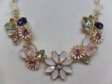 GORGEOUS PASTEL CRYSTAL FLORAL NECKLACE! NEW!