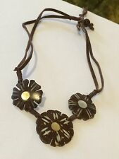 Artisan Made Coconut Shell Mother Of Pearl Inlay Flower Choker Necklace
