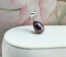 Wholesale,Freshwater Pearl Necklace/Pendant-Black Pearl with Silver Plated Chain