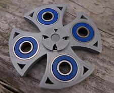 EDC Celtic / Cross Fidget Hand Spinner Toy 3D Printed Silver Blue Steel Bearings