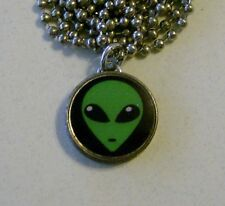 "Green ALIEN Believe? Dime Pendant / Charm Necklace 24"" Chain UFO"