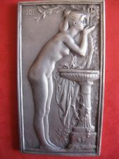 1900 ART silver medal plaque THE SOURCE, Nude, by Dupuis