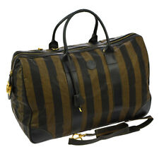 Auth FENDI Pequin Pattern 2way Travel Hand Bag Brown Vinyl Leather VTG V14251