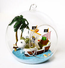 Dollhouse miniature in Glass Ball w/led light, (B-012)-  Mini Nautical Adventure