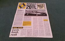 1976 1977 RENAULT 20 TL PRESS COMMENTS UK BROCHURE What The Papers Say