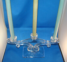 Vintage Viking Triple Candelabra 3 Stick Elegant Glass Candle Holder @H