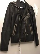 Zara Man Faux Leather Biker Jacket Vintage Look Size S  Genuine Zara