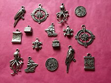 Tibetan Silver Mixed Pirates Themed Charms 16 per pack