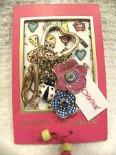 BETSEY JOHNSON KEY RING, FLORAL BUTTERFLY LADYBUG CHARMS, PHOTO FRAME NWT