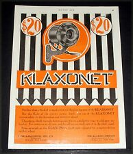 1910 OLD MAGAZINE PRINT AD, KLAXON KLAXONET SHARP SHRILL TREMOLO FORCES NOTICE!