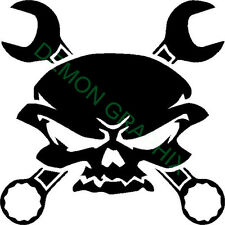Skull and Wrenches vinyl decal/sticker window laptop truck motorcycle garage