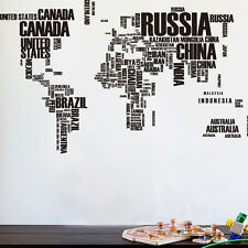 Letter World Map Removable Vinyl Decal Mural Home Decor Room Wall Sticker Office