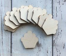 Pack of 10 laser cut wooden mini tiny cupcakes unpainted embellishments