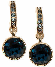 GIVENCHY Blue Stone Crystal Gold-Tone Half-Hoop Round Drop Earrings