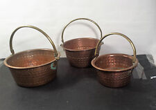 Vintage Set of 3 Antique Copper Nesting Pail Buckets with Brass Handle