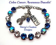 NEW! Beautiful COLON CANCER Awareness 8mm Swarovski Elements Bracelet - PRETTY!