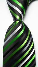 New Classic Striped Black White Green JACQUARD WOVEN 100% Silk Men's Tie Necktie