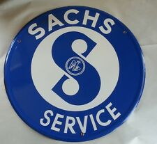RARE SACHS ENGINE DEALERSHIP SIGN 23.5 INCHES /  MOPED PORCELAIN EMBOSED BUTTOM