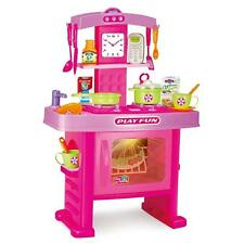 NEW PINK CHILDRENS KIDS KITCHEN PLAYSET PRETEND COOKING COOKERY ROLE PLAY SET