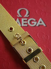 NOS 18MM FINEST MILANESE MESH GOLD WATCH BAND WATCHBAND BRACELET STRAP FIT OMEGA