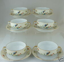 VINTAGE CZECHOSLOVAKIA EPIAG SOUP CUP/PLATE SET 12 PC,GOLD,FLOWERS,PARROT BIRDS