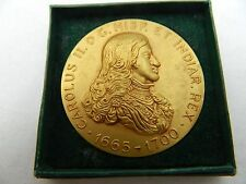Charles II King Of Spain Royalty Gilt Bronze Medal X & F Calico Barcelona