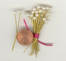 24 Vintage 4mm Faux PEARL Head Pins With 1-3/4 Brass Wires