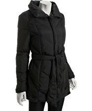 Womens Cole Haan Tie Front Black Quilted Down Puffer Winter Warm Jacket Coat L