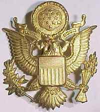 """WW2 US Army Officer's Hat Badge """"A.E. Co  Utica""""  SB"""