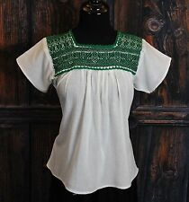 Green & White Hand Embroidered Blouse Puebla Mexico Frida Hippie Santa Fe Style