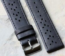LAST ONE! Black glove leather perforated 22mm rally racing watch strap 18 sold