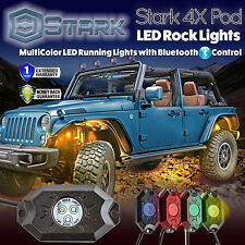 4PCS CREE RGB LED Multi-Color Offroad Rock Lights Bluetooth Phone Music Flashing