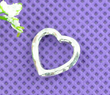 50 New Silver Tone Love Heart Bead Frames 14x14mm Findings