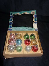 Vintage Shiny Bright Christmas Ornaments,Feather Tree Silver Netting Miniature
