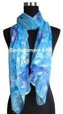 "New Stunning 60""x20"" 100% Pure Silk Floral Sheer Scarf Shawl Wrap, Baby Blue"