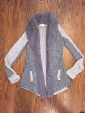 Anthropologie Sleeping On Snow Open Front Cardigan Sweater Coat Furry Sz XS