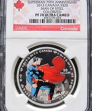 2013 SUPERMAN MAN OF STEEL SILVER COIN $20 PF70 UC 75th ANNV DC COMICS SUPERHERO