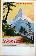 1915 French Railroad Poster Advertising Postcard: Le Mont Cervin, Zurmatt, Paris