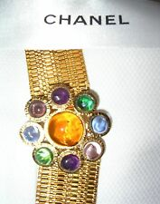 CHANEL Gripoix BELT Vintage Gold Plated Link Chain 1996A Brooch Pendant Jewelry