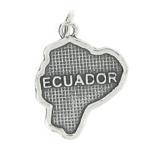 STERLING SILVER TEXTURED COUNTRY MAP OF ECUADOR CHARM OR PENDANT
